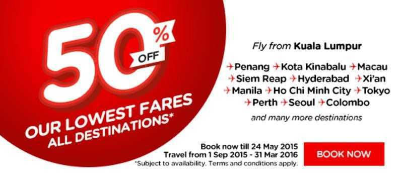 AirAsia 50% Discount Promotion for Flight 2015 - 2016 Featured Image